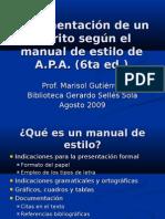 Documentación de Un Escrito Según El Manual