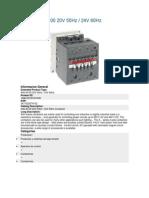 Abb Contactor A45!40!00 24 Vac 60 Hz