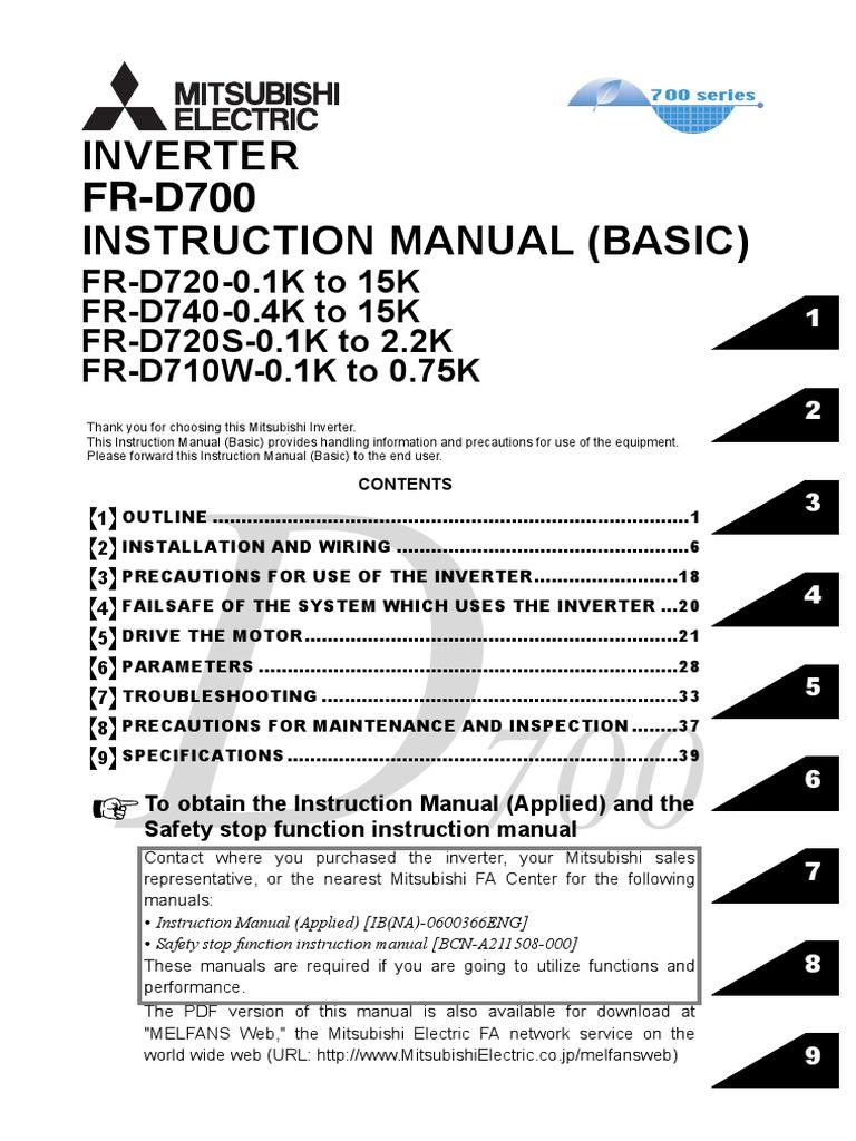 inverter mitsubishi fr d700 instruction manual basic pdf power rh scribd com mitsubishi electric g inverter user manual mitsubishi electric g inverter manual