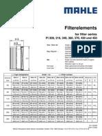 Filterelements Dimensions Standard GB