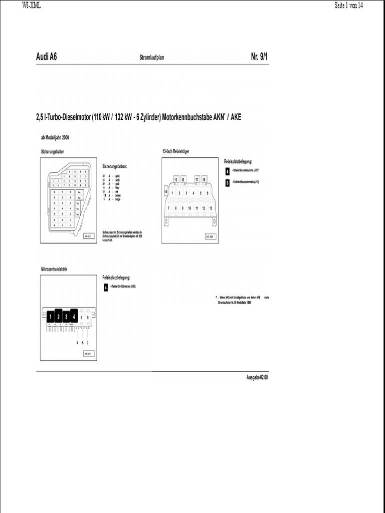 Audi A6 Stromlaufplan