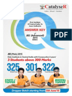JEE Advance 2015 Answer Key Paper I