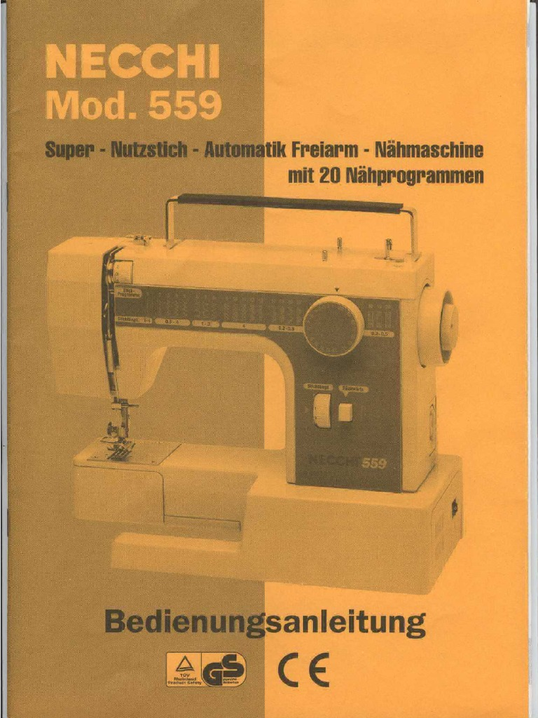 necchi mod 559 anleitung german manual rh es scribd com necchi 559 sewing machine manual necchi 559 sewing machine manual