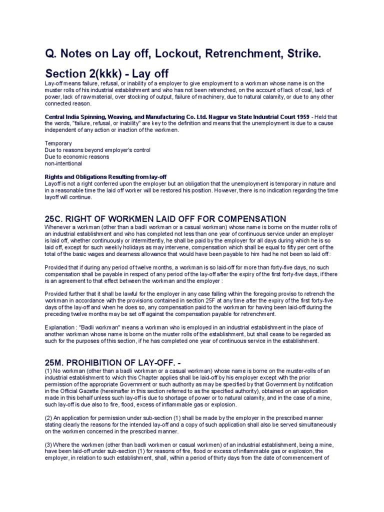 Labour Laws | Layoff | Strike Action