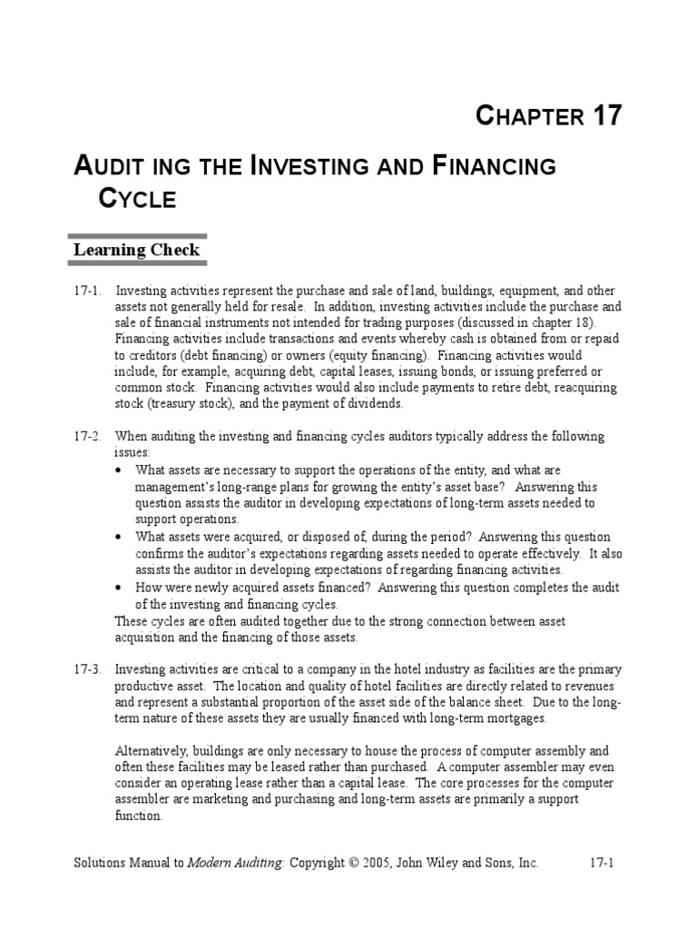 auditing chapter 1 solutions manual 200004 rev-2 chg-17 5/2013 1-1 chapter 1 general audit guidance 1-1 purpose this audit guide is to assist the independent auditor (auditor) in performing.