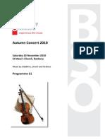 Programme for Autumn 2010 Concert DRAFT 1