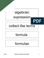 Year 8 Algebra - Equations, Formulae and Identites
