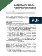 Escritura de Constitución de Sociedad Anónima Cerrada Con Directorio