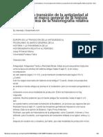 Europa en La Transición de La Antigüedad Al Feudalismo_ El Marco General de La Historia y La Panorámica de La Historiografía Relativa Al Período - Ensa