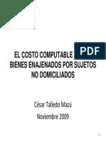 El Costo Computable de Los Bienes Enajenados Por Sujetos No Domiciliados