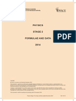 Physics Formulae and Data Sheet Stage 2 2014