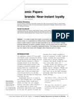 (Ehrenberg & Goodhardt 2000) New Brands Near Instant Loyalty