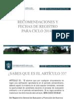 ART 33 y Registro de Materias