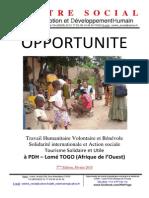 Opportunité de Travail Humanitaire Volontaire Et Bénévole à PDH Lomé TOGO 7ème Edition Février 2015