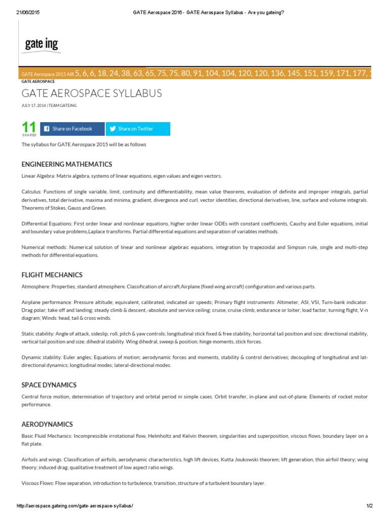 GATE Aerospace 2016 - GATE Aerospace Syllabus - Are You