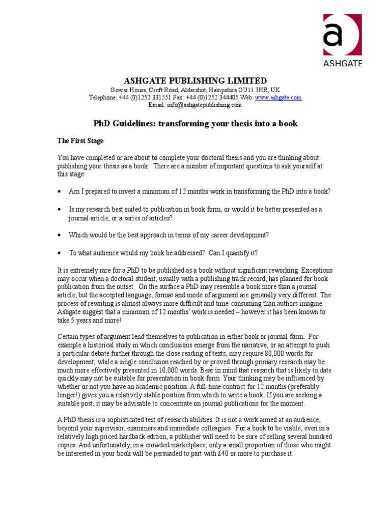 Phd thesis publishing