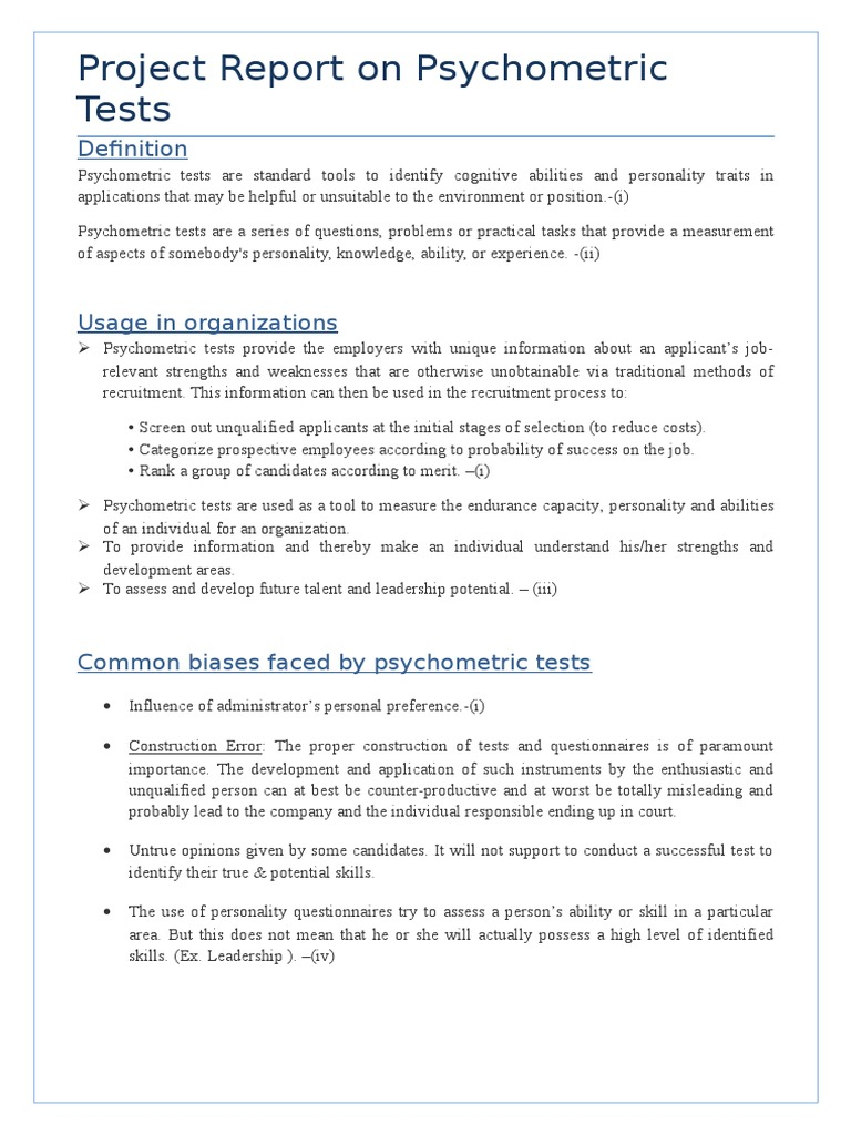 Psychometric Tests Psychometrics Recruitment