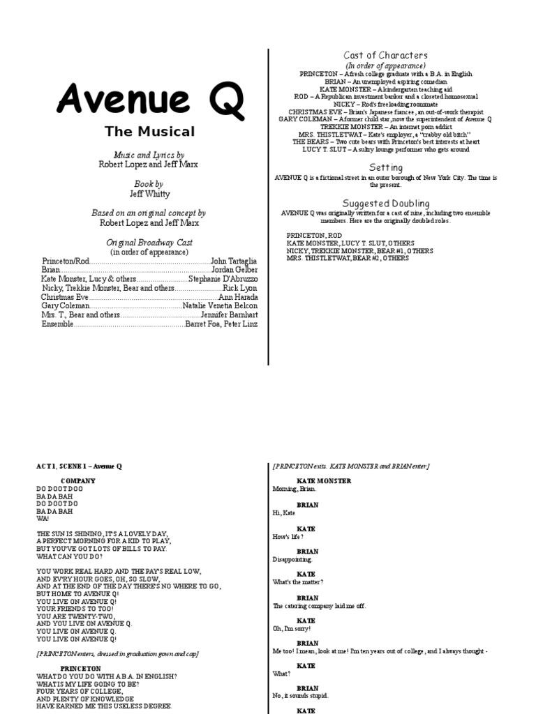 Avenue Q Libretto