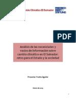 Análisis de las Necesidades y Vacíos de Información sobre cambio climático en El Salvador