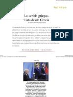 La «Crisis Griega», Vista Desde Grecia, Por Dimitris Konstantakopoulos
