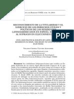 RECONOCIMIENTO DE LA TITULARIDAD Y EL EJERCICIO DE LOS DERECHOS CIVILES Y POLÍTICOS DE LOS RESIDENTES LATINOAMERICANOS EN ESPAÑA