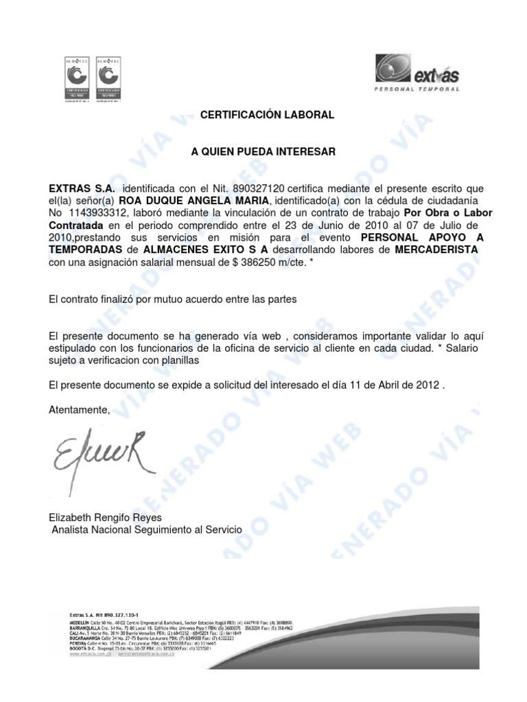formato certificacion laboral word