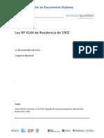 Ley 4144 de Residencia (1902)