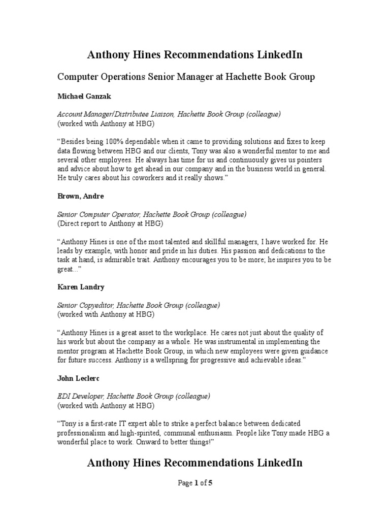 Job Search Skill LinkedIn Recommendations Example - Document #17