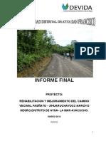 Modelo Del Informe Final Proyectos de inversion
