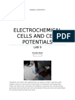 Lab 9 Electrochemical Cells and Cells Potentials