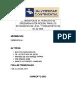 El Transporte en Huancayo Es Ordenada o Perjudicial Para Los Estudiantes de La Uc
