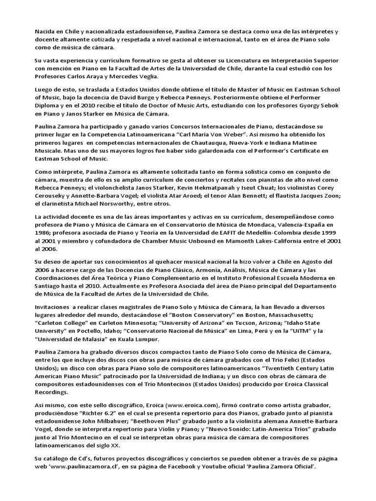 Moderno Currículum De Pianista Composición - Ejemplo De Colección De ...