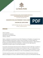 Discurso Papa Francisco 10-07-2015 Palacio de Lopez