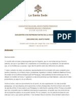 Discurso Papa Francisco 11-07-2015 Encuentro Sociedad Civil