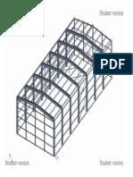 3D model of steel industrial hall