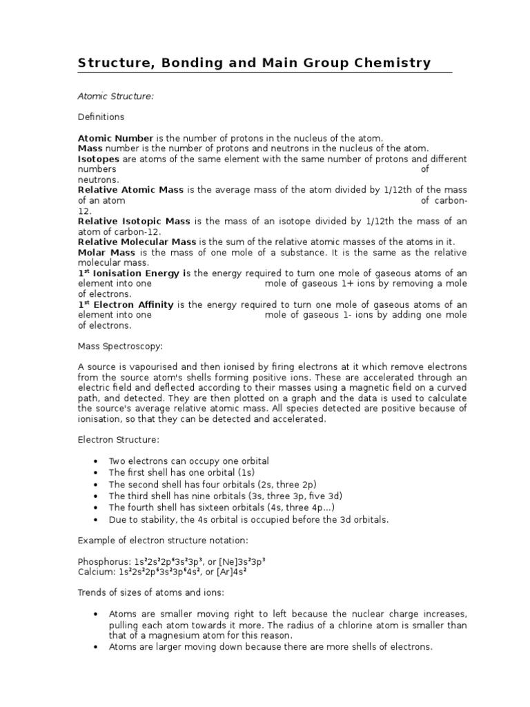 Chem Structure Bonding | Chemical Bond | Redox
