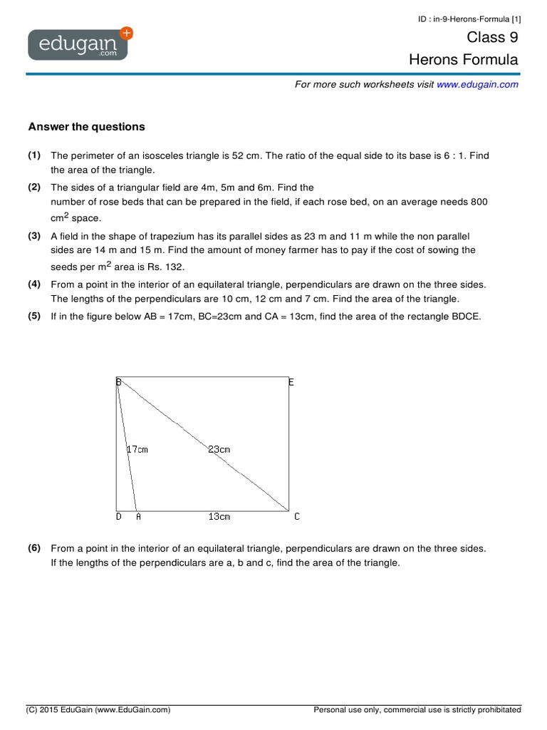 Grade 9 : Herons Formula Worksheet Area Area Of Regular Polygons Regular  Triangles How To Find