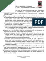 2 ª Prova Introdução à Economia UFPE 1º Semestre 2014