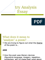 Poetry Analysis Essay POWERPOINT
