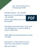 indian mp Salary and benifits