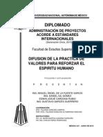 DIFUSION DE VALORES PARA REFORZAR EL ESPIRITU HUMADO