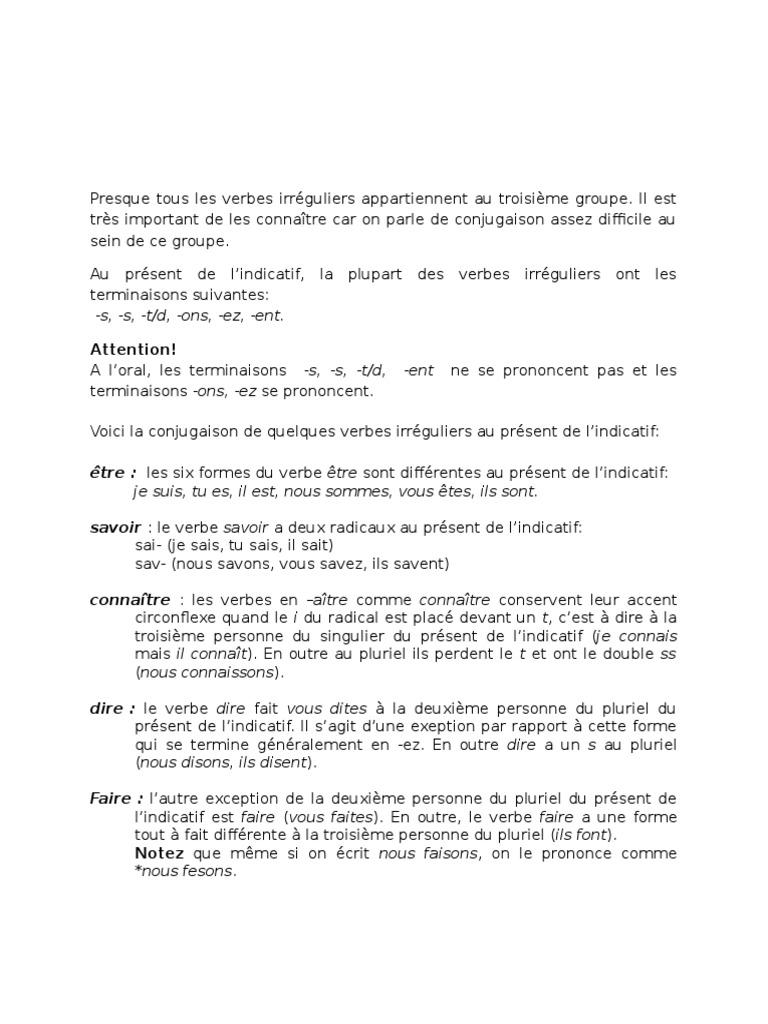 Verbes Irreguliers Francais Nombre Grammatical Verbe