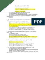 Political Law Bar Exam Questions 2014 - MCQ