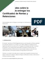Particularidades Sobre La Obligación de Entregar Los Certificados de Rentas y Retenciones