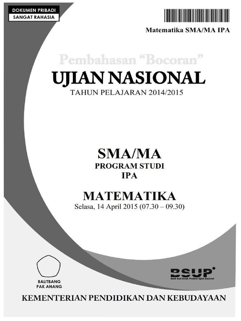 Pembahasan Bocoran Soal Un Matematika Sma Ipa 2015 By Pak Anang Blogspot Com
