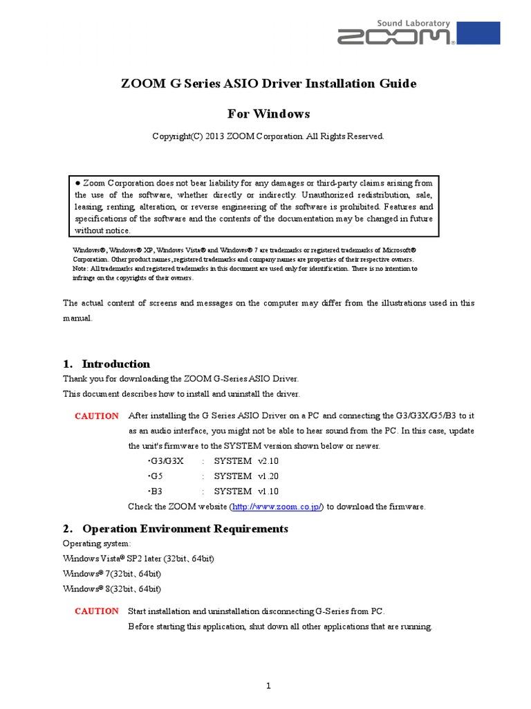 G Series ASIO Driver Installation Guide(Windows