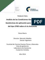 Análisis de las Condiciones Geológicas y Geotécnicas de aplicación para una presa del tipo CFRD sobre el río Anizacate
