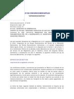 Exposicion de Motivos Ley Concursos Mercantiles