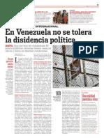 En Venezuela no se tolera la disidencia politica