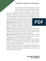 Resumen. Pilares de la Educación Superior en VENEZUELA